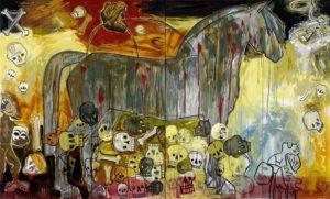 10. War Horse in Babylon 2005, oil on canvas, 60 x 100 diptych
