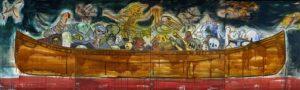 11. Trade Canoe- Don Quixote in Sumeria 2005, oil on canvas, 60 x 200 4 panels